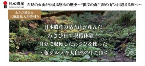 <わさび漬と三瓶温泉入浴券付き> 日本遺産の活火山が産んだわさび田で収穫体験! 自分で収穫したわさびを使った三瓶グルメを大自然の中で頂く